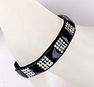 Ruban de diamant carré bracelet noir