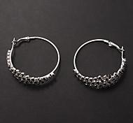 Fashion  Black-White Alloy Rhinestone Stup Earrings (1 Pair)