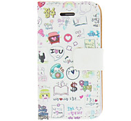 Happy Life Colorful Painting Pattern PU Leather Full Body Case For iPhone 4/4S
