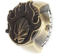Unisex Fire Cover Bronze Alloy Quartz Analog Ring Watch