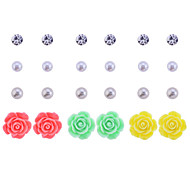 Korean Sweet Drill Rose Flowers Stud Earrings (12 Pairs A Set)