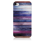 Melanocratic Transverse Line Pattern Transparent Frame Back Case for iPhone 4/4S