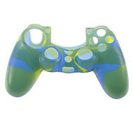 Silicone Skin Case and 2 Blue Thumb Stick Grips for PS4 (Yellow + Blue)