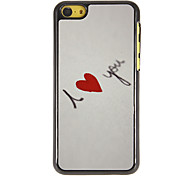 I Love You with Red Heart Pattern PC Hard Case with 3 Packed HD Screen Protectors for iPhone 5C