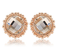 European Gold Alloy Stud Earrings(Champange,Translucent)(1 Pair)