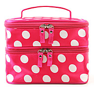 Fashion Women Portable Cosmetic Retro Dot Pattern Beauty Makeup Hand Case Bag