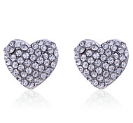Lureme®Full Crystals Heart Shape Stud Earrings