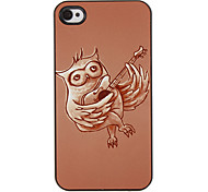 Owl Playing Guitar Pattern PC Hard Case with 3 Packed HD Screen Protectors for iPhone 4/4S