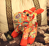 National Style Little Seated Kids' Red Suede Dragon Doll Gift