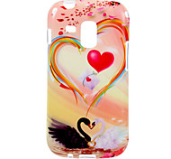 Love Swan Pattern TPU Soft Protective Back Case Cover for Samsung Galaxy Trend Duos S7562