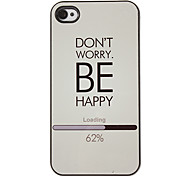 Don't Worry and Be Happy Letters Pattern PC Hard Case with 3 Packed HD Screen Protectors for iPhone 4/4S