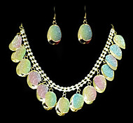 European Gold Rhinestone With Alloy (Earrings&Necklaces) Gemstone Jewelry Sets