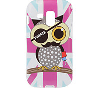 Purple Cartoon Pirate Owl Pattern TPU Soft Protective Back Case Cover for Samsung Galaxy Trend Duos S7562