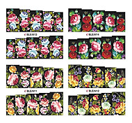 1x10PCS Colorful Blossom Pattern Water Transfer Print Nail Art Sticker Decal(Assorted Patterns)