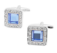 Luxuoso Blue Square Crystal & platinadas Abotoaduras (1pair)