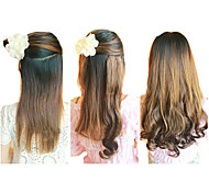 21 Inch Clip in Synthetic Light Brown Wavy Hair Extensions with 2 Clips