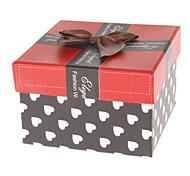 Bowknot Decor Heart Pattern Cubic Paper Watch Box