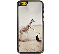Beauty and Giraffe Pattern PC Hard Case with 3 Packed HD Screen Protectors for iPhone 5C
