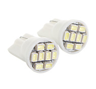 T10 8-LED Cool White Light LED Bulb for Car (12V,2 pcs)