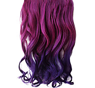 16 Inch Clip in Synthetic Purple Gradient Wavy Hair Extensions with 5 Clips