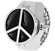 Women's Black Cover Silver Alloy Quartz Analog Ring Watch