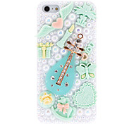 For iPhone 5 Case Rhinestone / Embossed Case Back Cover Case 3D Cartoon Hard PC iPhone SE/5s/5