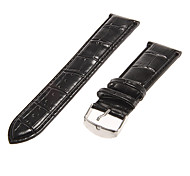 Unisex 22mm Alligator grain Echtes Leder-Uhrenarmband (schwarz)