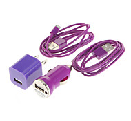 Mini 4 en 1 Kit Chargeur (US Plug USB Power Adapter + Chargeur Voiture + Câble USB 2.0 (2pcs 1M))