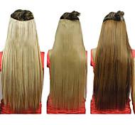 25 pulgadas clip en extensiones del pelo recto sintéticos con 5 clips (Surtido de 3 colores)