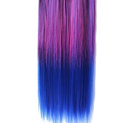 25 Inch Clip in Synthetic Purple and Blue Gradient Straight Hair Extensions with 5 Clips