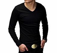 Casual coreano algodão t-shirt longos da luva dos homens