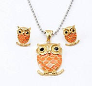 Sweet Orange Owl Titanium Steel Necklaces Earrings Vintage Jewelry Sets