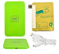 Green Power Wireless Pad Cargador + Cable USB + receptor Paster (Oro) para Samsung Galaxy Nota 2 N7100