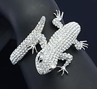 Silver Tone Gecko Lizard Bracelet Bangle Cuff with Clear Crystal