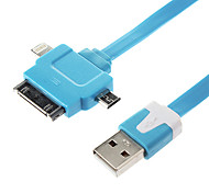 3 in 1 Noodle Flat USB Sync Data Charger Cable for Samsung&iphone Cell Phones&Tabs