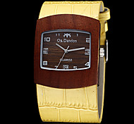 Unisex Wooden Dial PU Band Quartz Analog Wrist Watch (Assorted Colors)