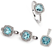 Fashion 925 Silver Plated Copper Blue Zircon Earring Ring And Pendants Set
