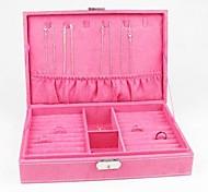 Pink Velvet Necklace Earring Ring Jewellery Set Box