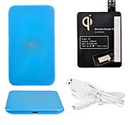 Azul Wireless Power Charger Pad + Cabo USB + Receptor Paster (Black) para Samsung Galaxy i9500 S4