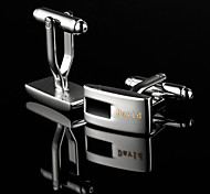 Personalized Gift Rectangle Silver and Black Engraved Cufflinks