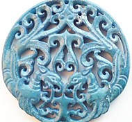Exquisite Hand Carved Chinese Old Jade Pendant Bead
