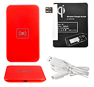Red Wireless Power Charger Pad + USB Cable + Receiver Paster(Black) for Samsung Galaxy Note2 N7100