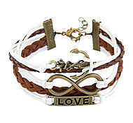 Fashion 17cm Women's Bronze Alloy LOVE Leather Bracelets(White-Brown)(1 Pc)