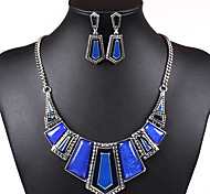 Elegant Leaves Women's Alloy (Necklaces&Earrings) Gemstone Jewelry Set(Green,Blue,Purple,Black)