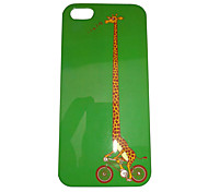 Cartoon Giraffe Riding Bike Pattern Back Case for iPhone 5/5S