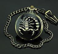 Men's Scorpion Pattern Bronze Alloy Quartz Pocket Watch Cool Watch Unique Watch