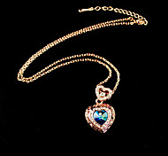 Blue Crystal Herz-Anhänger Halskette
