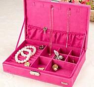vijf kleuren fluwelen ketting oorbel ring sieraden set box