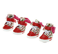 Cat / Dog Shoes & Boots Red Spring/Fall Cotton / PU LeatherDog Shoes