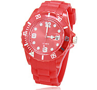 Unisex Calendar Round Dial Silicone Band Quartz Analog Wrist Watch